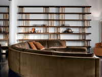 living-38 ESPACE BOOKCASE & MONTECARLO CURVED SOFA & BETTY LUXURY ARMCHAIR